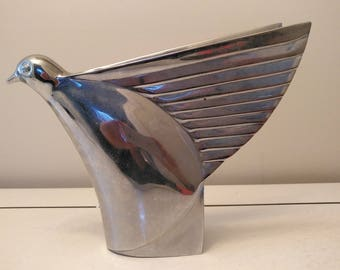 Large heavy Art Deco chrome metal hood car mascot flying bird circa 1930s