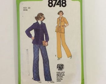 1970s Simplicity 8748 Jumpsuit Pattern Size 20