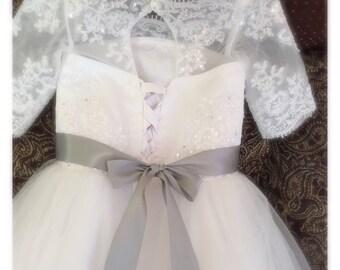 Princess Flower Girl Dress, Lace Flower Girl Dresses, Flower Girl Dress, Custom Wedding Dresses, Tutu Skirt Girls Dress, HandMade in USA