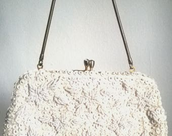 White Beads and Sequence  Little Evening Purse