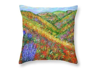 Decorative Throw Pillows, Wildflower Field, Accent Pillow, Abstract Pillow, Couch Pillow, Unique Pillow,