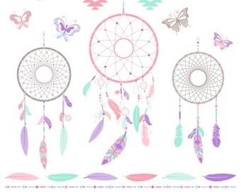 80% OFF SALE Dreamcatcher Clipart, Dream Catcher Clipart, Tribal, Boho, Printable, Commercial Use