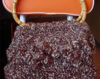Brown woolen bag mottled with bamboo handle