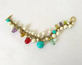 Vintage Carolee Charm Bracelet Faux Pearl Turquoise Enamel Gold Tone Bracelet Toggle Clasp.
