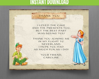 Disney Peter Pan Thank you Cards - Instant Download - Edit and print at home with Adobe Reader - Peter Pan Birthday - Neverland Party
