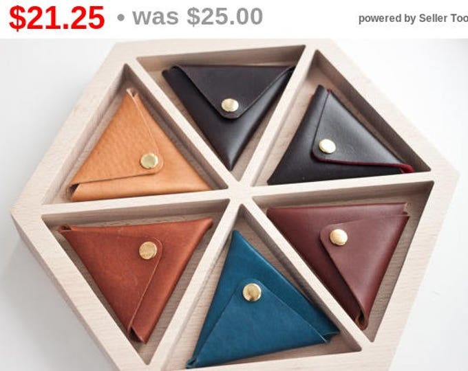 Horween Leather Triangle Coin Purse/Coin Wallet/Leather Coin Purse