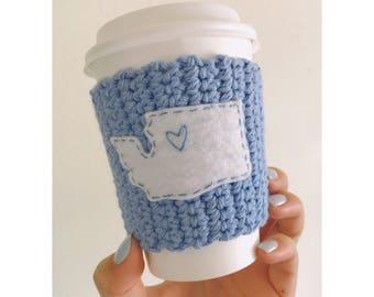 Washington Coffee Cozy // Knitted Coffee Cozy // Blue Coffee Cozy // Seattle Coffee Cozy
