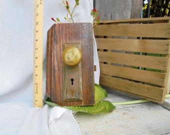 Vintage Primitive Rustic Farmhouse Brass Door Knob Set