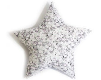 Star cushion in liberty Mitsi gray