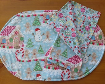 Gingerbread Placemat and Napkin Set, Child's Christmas Table, Kid's Holiday Table Setting, Candy Canes, Ribbon Candy, Snowman