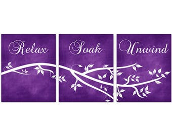 Purple Bathroom CANVAS Wall Art, Relax Soak Unwind Bathroom Quote, Bathroom  Prints, Modern