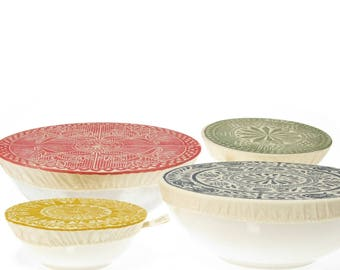 Bowl Cover Dish Cover Set - four sizes, reusable cloth covers for bowls, stretches over casseroles, salad bowls, side dishes and left overs.
