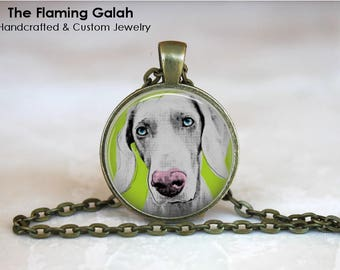POP ART Weimaraner Pendant •  Pet Jewelley •  Weimaraner Art •  Weimaraner Gift • Gift Under 20 • Made in Australia  (p1270)