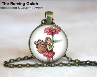 FLOWER FAIRY Pendant •  Vintage Flower Fairy •  Vintage Fairy •  Fairy Art • Gift Under 20 • Made in Australia •  (P1466)