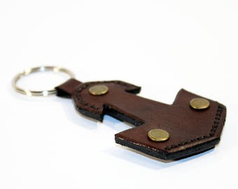 Mjolnir Leather Keychain, Handmade Keychain,Thor's Hammer Mjolnir Leather Keyring, Great gift! Brown keychain, Leather keyring.
