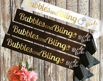 BRIDE SASH Bubles and Bling Black and White