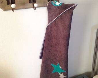 Hooded bath OWL and stars - teal and gray