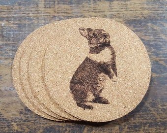Rabbit Cork Coasters (Set of Four)