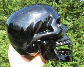 HUGE Black Obsidian Vampire Skull-Large Banded Silver Sheen Obsidian Skull Carved Quartz Crystal Skull Reiki Scrying kit-Fang Eclipse Charge