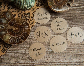 200 Mink Save the Date, thank you, Envelope seals, wedding stickers invitations. Printed Scalloped Round wedding Favour stickers. Matt