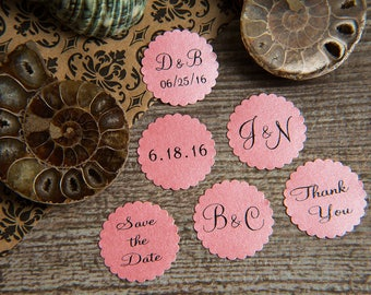 200 Blush Pink Save the Date Envelope seals, wedding stickers invitations. Printed Scalloped Round wedding Favour stickers. Matt