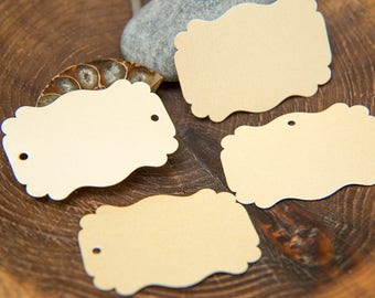 16 Cream Pearlised Square fancy Labels, Luxury Gift Tags, Blank Tags, Wishing Tree Tags, Wedding Place Card, Jam Label, Jewellery Tags