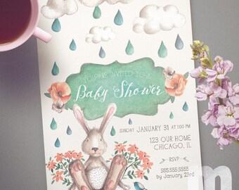 Bunny Baby Shower Invitations, Baby Shower Invitations for Girl, Baby Shower Invitations for Boy, Baby Shower Cards, Sprinkle Invitation