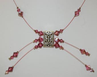 the 1 Choker necklace rose satin bicone beads