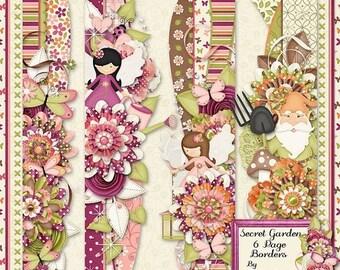 On Sale 50% Secret Garden Digital Scrapbook Kit Page Borders - Digital Scrapbooking