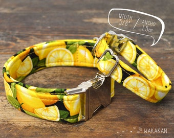 Lemon dog collar adjustable. Handmade with 100% cotton fabric. fruity style, yellow colors. Wakakan