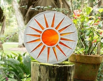 "Bright Orange Sun Stepping Stone 18"" Diameter Made of Concrete and Stained Glass Perfect for Your Garden Patio or Back Yard Pool Pond #616"