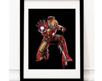Ironman inspired art print - black