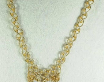 Gold wire necklace with crystals to tatting (tatting, tatting pattern)