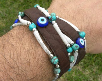 Double Wrap cuff shaman  bracelet wristband  genuine good luck Native Indian  dentalium shells turquoise evil eye protection  Bison leather