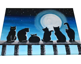 Cats and Moon - Original acrylic painting on canvas, animal painting, cat art, pets art, nature painting, bedroom art, wall art
