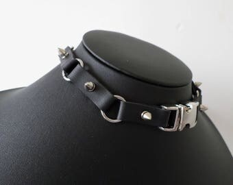 Studded Imitation Leather Cyber Industrial Gothic Buckle Choker - Faux Leather Collar with Clasp and Buckle Fastening
