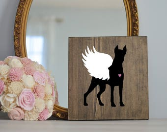 Doberman Wing Silhouette, Remembrance Sign, Dog Memorial, Loss of Dog, Silhouette, Memorial, Pet Loss, Dog Angel