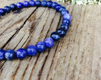 Natural sodalite bracelet for men, Mens blue gemstone stretch bracelet, Drisain elastic bracelet for men