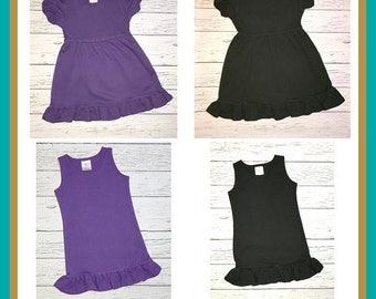25 Percent OFF Ruffle Dress Pre-Order, Purple Empire Waist Dress, Black Ruffle Dress, Black Empire Waist Dress, Purple Tank Dress, Black Tan