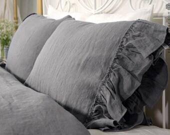 Linen charcoal grey pillow sham with ruffles -Softened linen pillow-Standard, queen, king sizes- Natural flax softened linen pillow