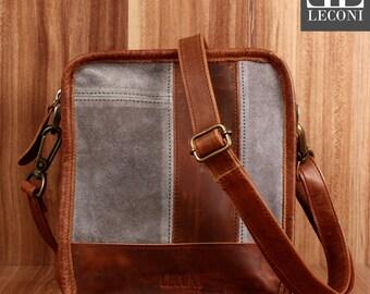 LECONI small shoulder bag shoulder bag women's suede leather suede grey LE3057-VL