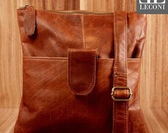 LECONI small shoulder bag lady bag man's Pocket Leather case Brown LE3060-wax