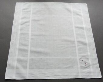 Vintage Large Men's Initial J Swiss Linen Hand Cotton Hankie Handkerchief