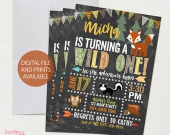 Woodlands Birthday Invitation, Wild ONE Birthday, Birthday Party, Aztec, Woodlands,  Digital File or Prints, Wild One Invitation