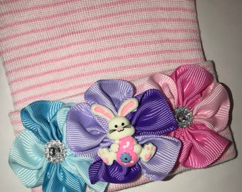 OnLy 1 Left! Newborn Hospital Hat! Pink and White Striped hospital hat topped off with Bunny on bed of flowers! Spring Baby Great Gift!