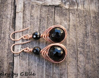 Copper Wire Wrapped Black Agate Earrings