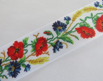 Pretty white floral Ribbon red, yellow and blue