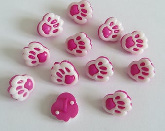 Dark pink and white animal print button
