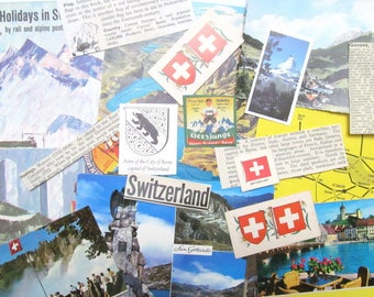 Vintage Switzerland paper ephemera craft kit: 25 mixed pieces including map. Craft pack for scrapbooks, travel journal EP606