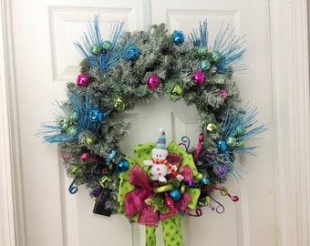 "Christmas Wreath Turquoise Green Pink Christmas Wreath Pre-Lit 24"" Christmas Wreaths for Front Door Handmade Christmas Decoration"